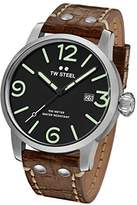 TW Steel Men's 'Maverick' Quartz Stainless and Leather Casual Watch, Color:Brown (Model: MS11)