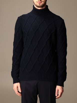 Tagliatore Turtleneck In Diamond-patterned Virgin Wool