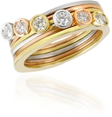 Torrini Bezel-set Diamond Three-tone 18K Gold Stackable Ring - Set of Six