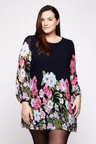 Yumi Curves Bold Floral Tunic Dress plus size 18-26 Navy