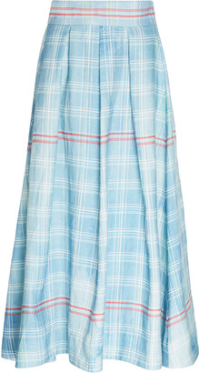 Rosie Assoulin Pleated Plaid Linen Midi Skirt