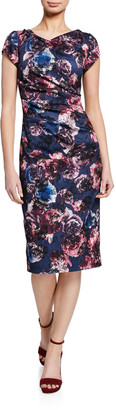 Theia Floral-Print Cap-Sleeve Ruched Sheath Dress