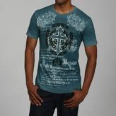 Pop Icon Men's Blue Cotton Cross and Chain-print Tee