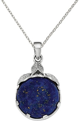 Sterling Silver Rhodium-plated with Lapis Lazuli Pendant with 18-inch Cable Chain by Versil