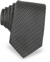 Lanvin Dark Gray Woven Silk Narrow Tie