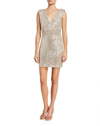 LIKELY Brienne Sequined Tie-Waist Slit Dress