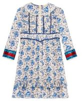Gucci Girl's Porcelain-Print Silk Dress