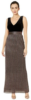 Vince Camuto Sleeveless V-Neck Gown (Black/Gold Multi) Women's Dress