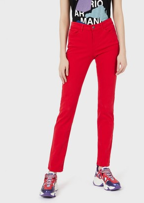 Emporio Armani Super Skinny J18 Jeans In Bull-Stretch, Garment-Dyed Fabric