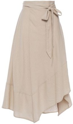 DKNY Asymmetric Flared Pinstriped Linen-blend Midi Skirt