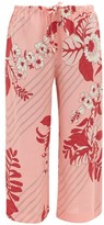 Etro Floral-print Cropped Georgette Trousers - Womens - Pink Print