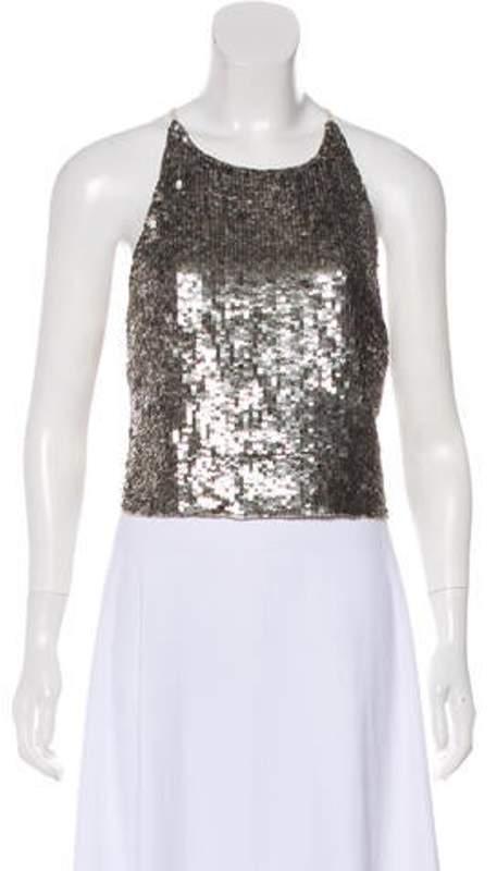 Alice + Olivia Sequin Sleeveless Crop Top silver Sequin Sleeveless Crop Top