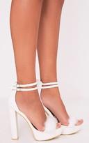PrettyLittleThing Shea White Fluffy PU Platform Sandals