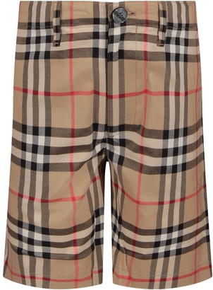 Burberry Beige Boy Short With Iconic Vintage Check