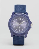 Reclaimed Vintage Canvas Military Watch In Blue