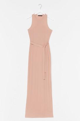 Nasty Gal Womens Slit 'Em Up Belted Maxi Dress - Stone