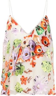 Alice + Olivia Lavonia Ruffled Floral-print Fil Coupe Chiffon Camisole