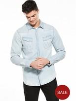 Wrangler Long Sleeve Original Western Denim Shirt