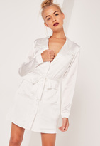 Missguided Satin Belted Pocket Detail Shirt Dress White