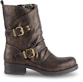 Joe Browns Womens Biker Style Ankle Boots with Cracked Metallic finish