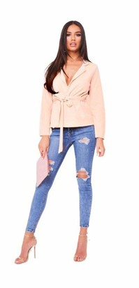 High Street Fashion Women's Ladies Long Sleeve Front Open Tie Up Belted Blazer Jacket Crepe Duster Coat Size 8-10 12-14 16-18 20-22 24-26(20-22) Nude