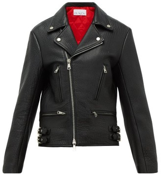 Raey Tumbled-leather Biker Jacket - Womens - Black