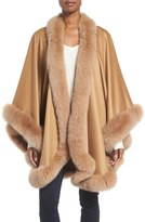 Sofia Cashmere Genuine Fox Fur Trim Cape