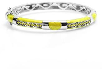 Chanteur Designs Girls' Bracelets Yellow - Yellow Czech Crystal & Silvertone Heart Bangle
