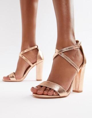 Glamorous metallic cross strap block heel sandals in rose gold