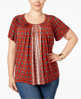 Style&Co. Style & Co. Plus Size Printed Pleated Top, Only at Macy's