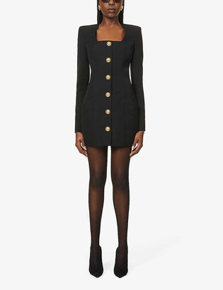 Balmain Button-embellished wool mini dress