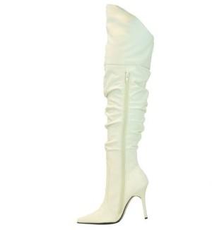 """The Highest Heel Halloween Women's 4"""" Thigh High Scrunch Boot"""