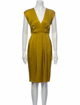 Gucci Silk Knee-Length Dress Yellow