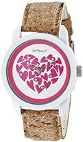 Sprout Women's ST/8000WTCK Swarovski Crystal Accented Heart Theme Dial Cork Strap Watch