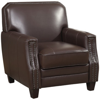 Ac Pacific Corporation Full Grain Leather Club Arm Chair, Brown