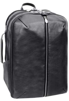 """McKlein Usa U Series, ENGLEWOOD , Pebble Grain Calfskin Leather 17"""" Leather, Triple Compartment, Carry-All, Laptop & Tablet Weekend Backpack, Black (18895)"""