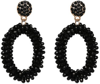 Goodnight Macaroon 'Natalie' Oval Beaded Drop Earrings (7 Colors)
