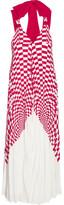 Fendi Tie-back Plissé Silk Crepe De Chine Midi Dress - Red