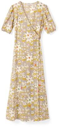 Phoebe Grace Joyce V-Neck Maxi Wrap Puff Sleeve Dress In Grey Flower