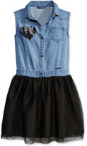 GUESS Denim & Tulle Dress, Big Girls (7-16)