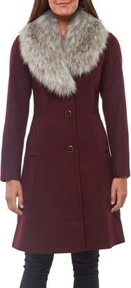 Kate Spade Faux Fur Shawl Collar Fit & Flare Coat