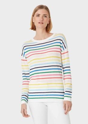 Hobbs Rainbow Linen Cotton Stripe Jumper