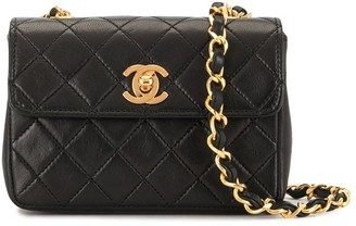 Chanel Pre Owned 1990 Mini Diamond Quilted Chain Crossbody Bag