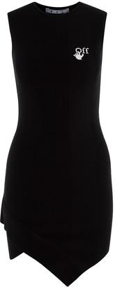Black Asymmetric Crew-neck Mini Dress