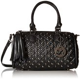 MG Collection Madra Gothic Skull Studded Quilted Bowling Top Handle Bag