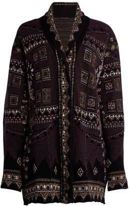 Etro Lurex Intarsia Knit Cardigan