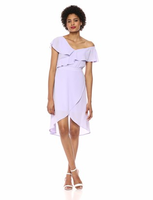 Ali & Jay Women's Day at The Races Off The Shoulder Ruffle Wrap Dress