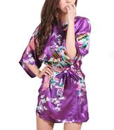 FAYBOX Bridesmaid Peacock Short Kimono Robe Wedding Satin Silk Sleepwear L
