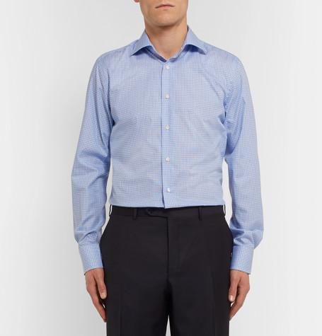 Canali Blue Slim-Fit Cutaway-Collar Checked Cotton-Poplin Shirt