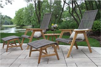 Outdoor Interiors 5Pc Teak & Wicker Basket Lounger Set